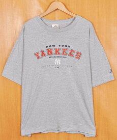 【ビッグTシャツ】adidas アディダス MLB New York Yankees ニューヨーク・ヤンキース 半袖Tシャツ 霜降りグレー メンズ2XL相当【中古】▼