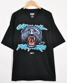 【ビッグTシャツ】Reebok リーボック NFL Carolina Panthers カロライナ・パンサーズ 半袖Tシャツ ブラック メンズXL【中古】▼