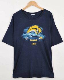 【ビッグTシャツ】Reebok リーボック NHL Buffalo Sabres バッファロー・セイバーズ 半袖Tシャツ ネイビー メンズXL相当【中古】▼