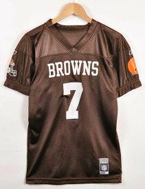 Reebok リーボック NFL Cleveland Browns クリーブランド・ブラウンズ フットボールシャツ ナンバリング メッシュ ユニフォーム ブラウン レディースM相当【中古】▼