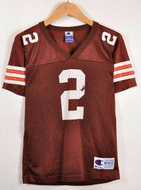 CHAMPION チャンピオン NFL Cleveland Browns クリーブランド・ブラウンズ ティム・カウチ フットボールシャツ ナンバリング メッシュ ユニフォーム ブラウン レディースM相当【中古】▼