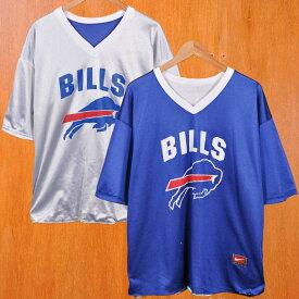 【ビッグTシャツ】NIKE ナイキ NFL Buffalo Bills バッファロー・ビルズ リバーシブル メッシュ 半袖Tシャツ ホワイト×ブルー メンズXL相当【中古】▼