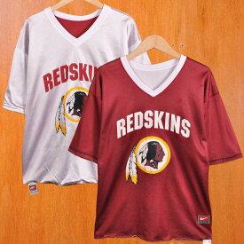 【ビッグTシャツ】NIKE ナイキ NFL Washington Redskins ワシントン・レッドスキンズ リバーシブル メッシュ 半袖Tシャツ ホワイト×ワインレッド メンズXL【中古】▼