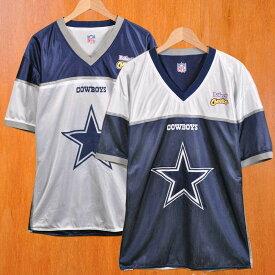 【ビッグTシャツ】NFL Dallas Cowboys ダラス・カウボーイズ リバーシブル メッシュ 半袖Tシャツ ホワイト×ネイビー メンズXL相当【中古】▼