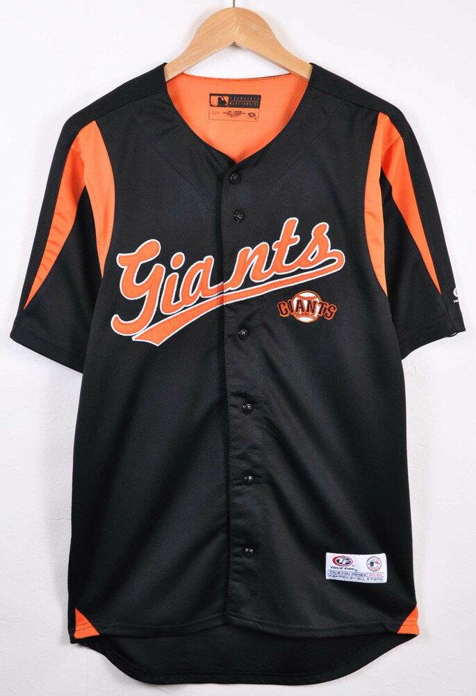 TRUE FAN MLB San Francisco Giants サンフランシスコ・ジャイアンツ ベースボールシャツ ユニフォーム ブラック×オレンジ メンズS【中古】▼