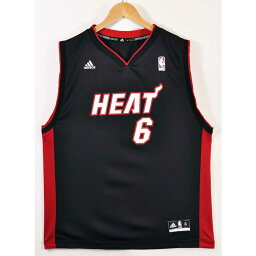 adidas愛迪達NBA Miami Heat邁阿密·加熱露華濃·詹姆斯籃球短袖汗衫制服編號黑色女士XL適合▼