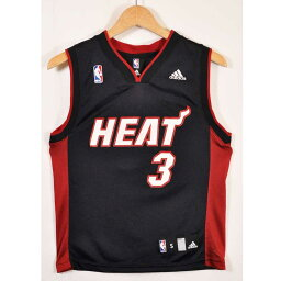 adidas愛迪達NBA Miami Heat邁阿密·加熱德韋因·韋德籃球短袖汗衫制服編號黑色女士S適合[中古]▼
