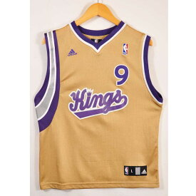 adidas アディダス NBA Sacramento Kings サクラメント・キングス バスケ タンクトップ ユニフォーム ナンバリング ゴールドオーカー レディースL相当【中古】▼