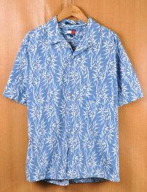 【ビッグサイズ】TOMMY HILFIGER トミーヒルフィガー アロハシャツ 半袖シャツ ライトブルー系 竹柄 メンズXL相当【中古】■