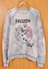 Disney ディズニー Frozen アナと雪の女王 オラフ USED加工 長袖 カットソー 霜降りグレー レディース2XL相当【中古】▼