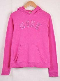 NIKE ナイキ プルオーバー スウェット パーカ ピンク ステッチ レディースL相当【中古】■