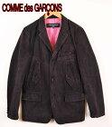 2004年 日本製 COMME des GARCONS HOMME コム・デ・ギャルソン オム テーラードジャケットスタイル 3つボタンジャケット ダック地 ブラック メンズS【中古】▼