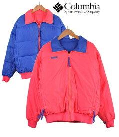 ヴィンテージ 1990年代 Columbia コロンビア リバーシブル 中綿 アウトドア ナイロンジャケット 蛍光ピンク×ブルー メンズL【中古】■