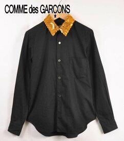 2011年 日本製 BLACK COMME des GARCONS ブラック コム・デ・ギャルソン コットン 長袖シャツ ブラック×ゴールド スパンコール メンズXS【中古】▼【KO】
