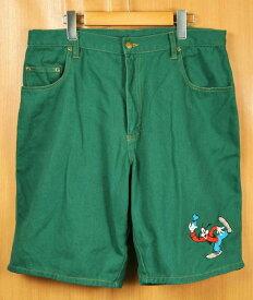 Disney ディズニー Goofy グーフィー ハーフパンツ ショーツ グリーン W35相当【中古】■
