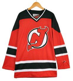 【ビッグサイズ】PRO PLAYER NHL New Jersey Devils ニュージャージー・デビルス ホッケーシャツ ユニフォーム レッド メンズ2XL相当【中古】▼