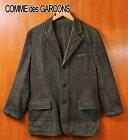 2004年 日本製 / COMME des GARCONS HOMME コム・デ・ギャルソン オム / ウール テーラードジャケットスタイル 3つボタンジャケット / オリーブグリーン系ツイード 表面加工 / メンズS【中古】▽