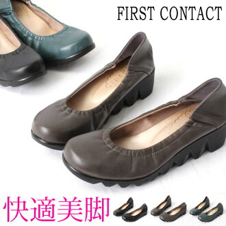 FIRST CONTACT / first contact 5 cm heels in legs! thick bottom wavewedgsawl type plain / ankle strap sneaker pumps / comfort pumps / walking shoes