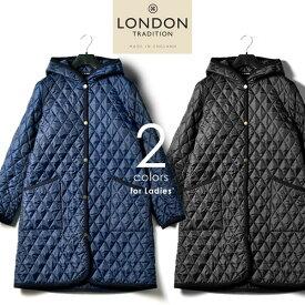 LONDON TRADITION ロンドントラディション フーデッド キルティング ロングコート ジャケット コート イギリス製 レディース WO-003
