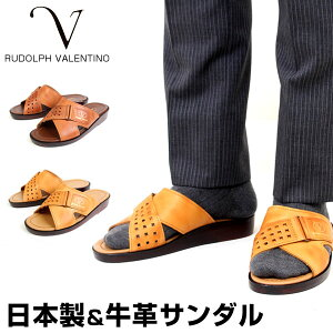 RUDOLPHVALENTINO ルドルフバレンチノ 日本製 本革 サンダル レザーサンダル オフィスサンダル 室内履き 外履き ヒール3cm メンズ 2703