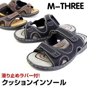 M-THREE エムスリー 防滑 軽量 サンダル メンズサンダル カジュアルサンダル 室内履き 外履き カジュアル ヒール3.5cm メンズ 1534