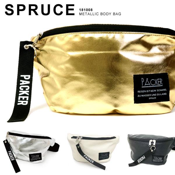 spruce/スプルス メタリック ボディバッグ バッグ ショルダーバッグ メンズ レディース ゴールド シルバー 181008