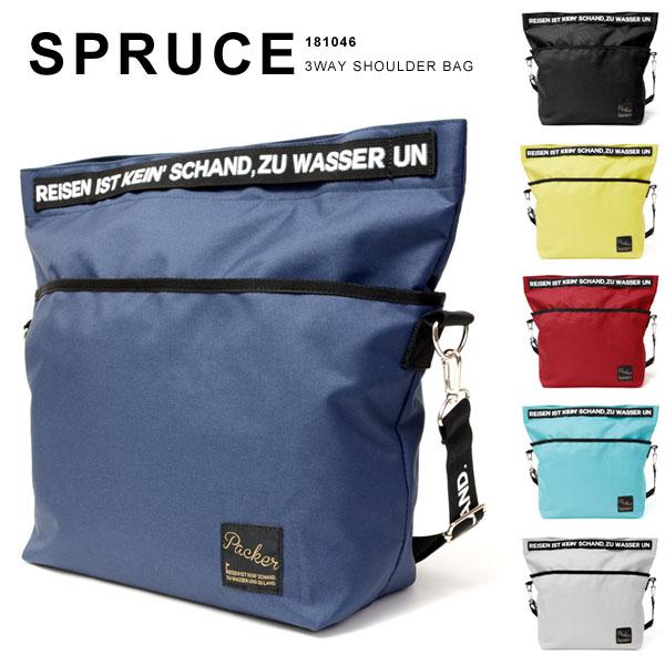 spruce/スプルス 3WAY ショルダーバッグ 手提げバッグ トートバッグ メンズ レディース A3 A4 ロゴテープ 181046
