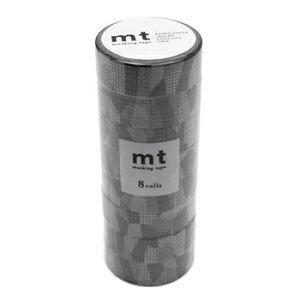 【お買い得品】カモ井加工紙 mt 8P DECO セパレートチェック モノクロ 幅15mm×7m巻 マスキングテープ MT08D457