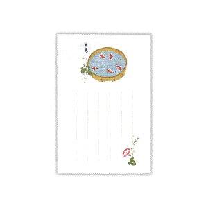 ▲夏柄 サマーポストカード 【和紙縦罫桶金魚】 ホールマーク SCP-705-756