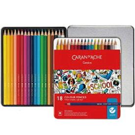 カランダッシュ 色鉛筆 スクールライン 水溶性色鉛筆 1290-318 18色セット 缶入 【ペンハウス】(2250)
