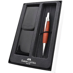 ファーバーカステル 新学期セット 2020 エモーション ウッド&クローム 梨の木 ブラウン 1.4mm ペンシル + ペンケース 138382+F-BTS-G FABER CASTELL 名入れ シャーペン 名前入り 1本から プレゼント 男性