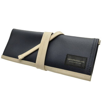 [Idea stationery] Saki collection Roll pencil case M size P-666 (Canvas / synthetic leather) Dark Blue