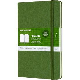 【 今だけ!ポイント10倍 】モレスキン ノートブック Two-Go TWOGO31K30 5180954 ミディアムサイズ グラスグリーン 無地 + 横罫 【ペンハウス】(2900)【OKM10】