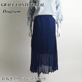 不帶GRACE CONTINENTAL格雷斯歐陸式針的褶編織物裙子18春天夏天全四色36尺寸38223153 Diagram列車時間表