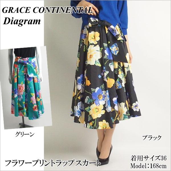 クリアランスSALE50%OFFセール GRACE CONTINENTAL グレースコンチネンタル フラワープリントラップスカート 18春夏 全2色 36/38サイズ 38221145 Diagram ダイアグラム