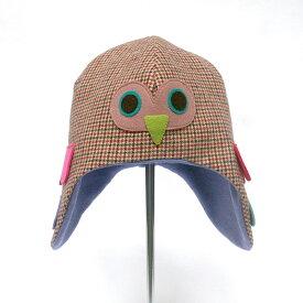 ふくろう帽子 / 48センチ グリーン / Lemon Lime Fish レモンライムフィッシュ / 子供用 キッズ 手作り 一点物 梟 動物