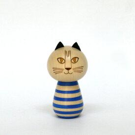 こけし MIMI / Lisa Larson リサ・ラーソン / kokechi / ミンミ / 青 / リサラーソン 置物 オブジェ 和風 木製 猫 ねこ ネコ cat キャット あお ブルー