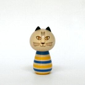 こけし MIMI / Lisa Larson リサ・ラーソン / kokechi / ミンミ / スウェーデンカラー / リサラーソン 置物 オブジェ 和風 木製 猫 ねこ ネコ cat キャット あお ブルー きいろ イエロー