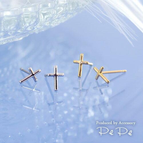 K10(イエローゴールド・ホワイトゴールド) ピアス(地金/十字架/クロス)[5752300101-5752200103]