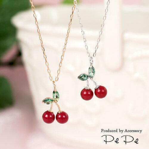 K10(ピンクゴールド・ホワイトゴールド)×合成石 さくらんぼネックレス(フルーツ・果物)[6221451001-6221251001]