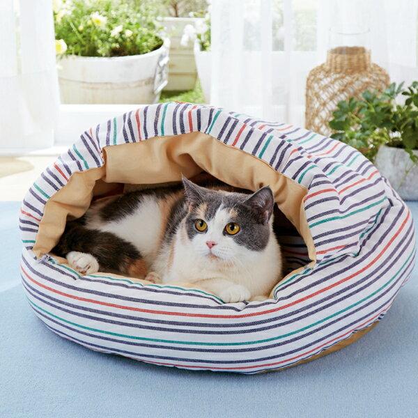 さわやかマリンラウンドもぐりふとん ベッド ハウス マルチ チェック カラフル 猫 ペピイオリジナル 2018春夏
