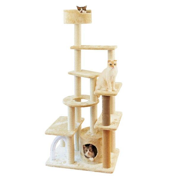 いっぱい遊べるハイキャットタワー 据え置き 猫 爪研ぎ ペピイオリジナル