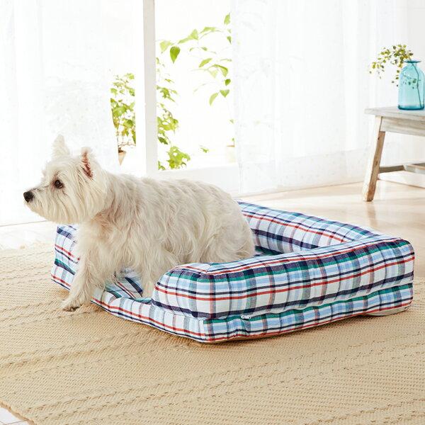 さわやかマリンスクエアソファー S 幅73×奥行56×高さ15cm マルチ チェック カラフル ベッド 犬 猫 綿 コットン ペピイオリジナル 2018春夏