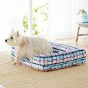 さわやかマリンスクエアソファー S 幅73×奥行56×高さ15cm マルチ チェック カラフル ベッド 犬 猫 綿 コットン ペピ…