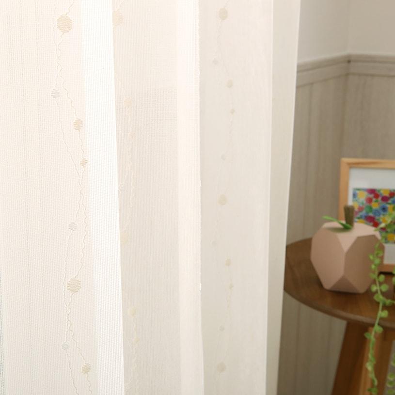 【最短5営業日で出荷】【レースカーテン】【代引き不可】ミラーレース ソレイユ 〜リアン〜 アイボリー[洗える][透けにくい][ウォッシャブル][1cm刻みでオーダー可能]
