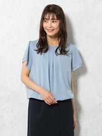 シフォンカットソー ブルー/ホワイト