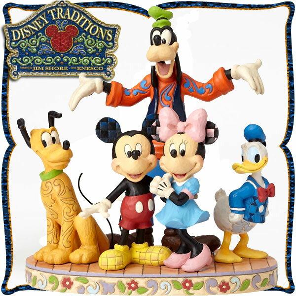 ディズニー 木彫り調フィギュア ミッキーマウス ミニーマウス ドナルドダック プルート グーフィー 「素晴らしい五人組」 ディズニー・トラディション 新生活 プレゼント