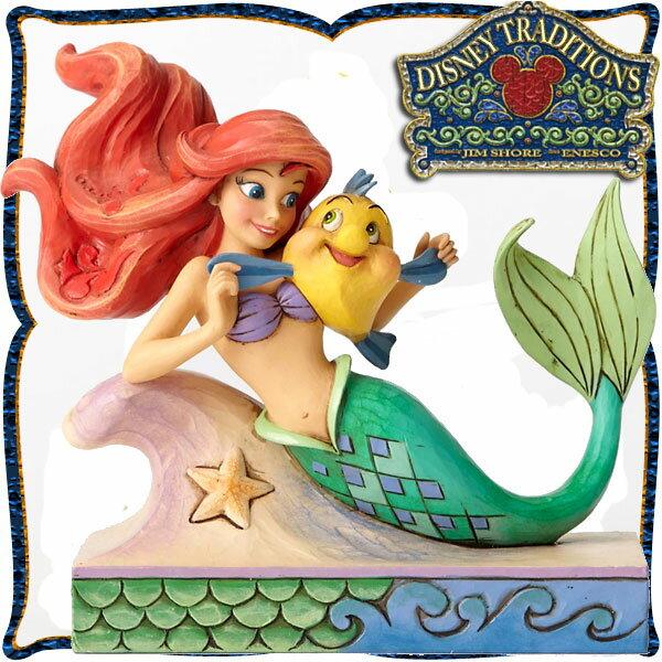 10パーセントオフ 店内全品 ~7/22 ディズニー プリンセス 木彫り調フィギュア アリエル (リトルマーメイド) 「Ariel with Flounder」 フランダーと一緒 ディズニー・トラディション