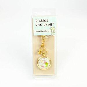 かえるのピクルス チャーム付きキーチェーンウォッチ お花 ウォッチ アクセサリー グッズ 日本製