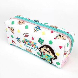 クレヨンしんちゃん しんちゃん Wファスナーペンポーチ チラシ/パジャマ ペンポーチ ペンケース 筆箱 白 グッズ
